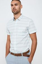 Threadbare Striped Shirt Cotton with Short Sleeves and Chest Pocket
