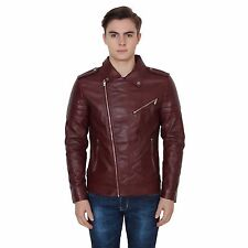 Branded Surplus Zara Stylish Slim Fit Biker Wine Faux Leather Jacket For Men