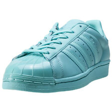 adidas Superstar Glossy Toe Womens Green Leather Casual Trainers Lace-up