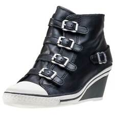 Ash Genial Nappa Wax Womens Black Leather Casual Wedges Buckle Genuine Shoes