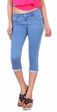"Women's Stretchable  Denim Capri Pant  Size 28 to 34 "" Free Shipping India """