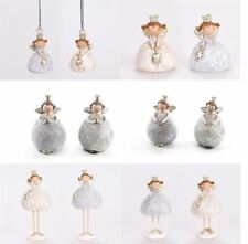 Set of 2 Angel Glitter Figurine Ornament Christmas Decor in Gold & Silver