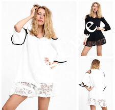 WOMENS LADIES CASUAL FRILL 3/4 SLEEVE COLD SHOULDER LACE TRIM MINI DRESS TUNIC