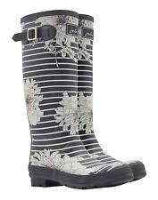 Joules Wellyprint Womens Printed Wellington - Grey Peony Floral