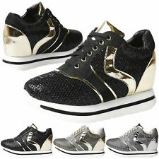 WOMENS SHOES LADIES TRAINERS SNEAKERS ANKLE BOOTS HI TOP PLATFORM WEDGE SIZE NEW