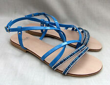 NEW CLARKS MADE IN ITALY WOMENS BLUE PATENT BEADED SANDALS SIZE 5.5 / 39