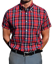 BRUTUS TRIMFIT RED & NAVY WINDOWPANE SHORT SLEEVE SHIRT SKINHEAD SKA MOD Oi