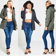 NEW WOMENS BRAVE SOUL FUR HOODED JACKET WARM WINTER LADIES MILITARY PARKA COAT