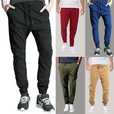 Fuxion Men's Chino Casual Jogger Pants Elastic Waistband Twill Trousers