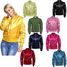 NEW WOMENS JACKETS CASUAL HIGH FASHION LADIES SATIN MA1 BOMBER BIKER JACKET COAT