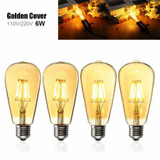 E27 ST64 6W Golden Cover Dimmable Edison Retro Vintage Filament COB LED Bulb Lig