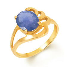 Blue Sapphire Neelam Gold Certified Gemstone Ring 18Kt Gold