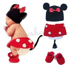 Infant Baby Girl Minnie Mouse Crochet Knit Outfit Set party Photo Props Costume