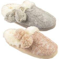 Ladies Knitted Fur Lined Warm Cosy Fur Pom Pom Womens Slip On Mules Slippers UK