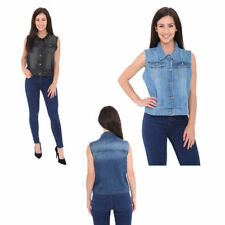 Fuxion Womens Denim Jeans Jacket Sleeveless Vest Washed Flap Pockets
