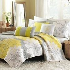 Full Queen King Bed Gray Grey White Yellow Floral 6 pc Cotton Quilt Set Coverlet