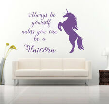 Be Yourself, Unicorn Quote Vinyl Wall Art Sticker, Mural, Decal. Home Decor