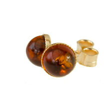 Classic Gold and Amber Stud Earrings