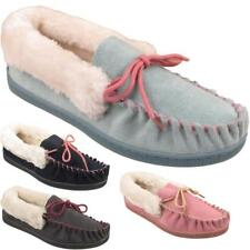 Womens Ladies Warm Fur Lined Comfort Winter Leather Suede Slippers Moccasins UK