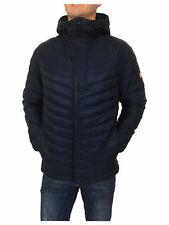 Mens Size XL Superdry Micro Quilt Down Hooded Jacket in Navy Blue