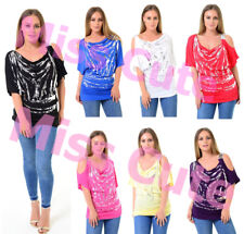 WOMENS LADIES METALLIC SILVER FOIL PRINT PATTERN CUT-OUT COLD SHOULDER TOP TUNIC