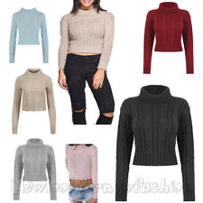 Womens New Ladies Knitted Polo Neck Chunky Knit Cable Sweater Jumper Crop Top
