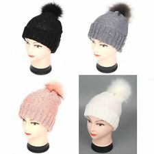 Ladies Warm Winter Hat Fake Fur Pom Pom Knitted Wooly Sequin Beanie Hat Bobble