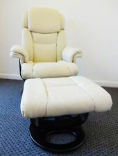 LUXURY LEATHER SWIVEL RECLINER ARMCHAIR LOUNGER WITH FOOTSTOOL CHAIR GAMING