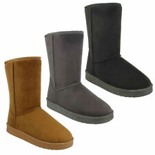 LADIES F4406 MID CALF PLAIN BLACK TAN FAUX FUR LINED WINTER BOOTS SIZE UK 3  - 8