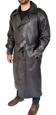 Mens Full Length Trench Leather Coat Black Double Breasted Belted Long Overcoat