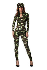 Womens Commando Paratrooper Camouflage Costume Military Army Soldier Fancy Dress