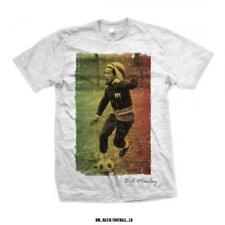 OFFICIAL LICENSED - BOB MARLEY - FOOTBALL TEXT T SHIRT - REGGAE RASTA KAYA