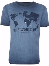 Armani Jeans Mens Blue 'The World of Armani Jeans' T-shirt All Sizes BNWT