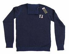 Fendi Kids Navy Blue Polo Neck Jumper 100% Genuine Made in Italy 2 Sizes