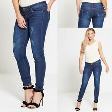 NEW WOMENS LADIES SLIM FIT STRETCH DARK DENIM BLUE WASH FADED SKINNY JEANS PANTS