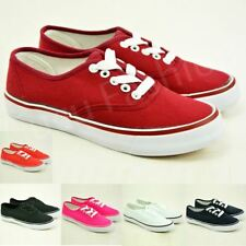 New Womens Ladies Canvas Trainers Lace Up Flat Sneakers Running Shoes Size Uk