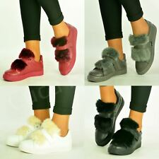New Womens Ladies Top Fur Flat Trainers Sneakers Strap Casual Shoes Size Uk 3-8