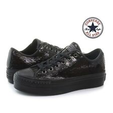CONVERSE ALL STAR ct platform ox scarpe donna bambina zeppa brillantinata 558984