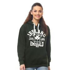 e6a43ff7e Pullover Hoodie With Ireland Emerald Isle Print, Forest Green Colour
