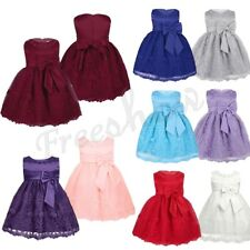 Girls Infant Kids Baby Floral Lace Flower Princess Dress Birthday Recital Party