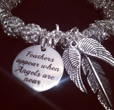 Angel Wings, Feathers & Quotes - Swarovski Crystal Bead Bracelet Christmas Pet
