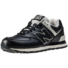 New Balance 574 Classic Tennis Court Mens Black Leather Casual Trainers Lace-up