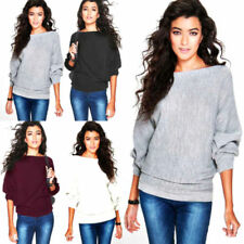 Ladies New Stylish Amelia Oversized Rib Knit Batwing Jumper Top Plus size UK8-22