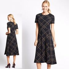 M&S Fit & Flare MIDI Length FIT & FLARE DRESS ~ Var. Sizes ~ NAVY Mix Check