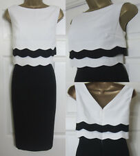 NEW M&Co Scallop Layered Shift Dress Occasion Smart Party Black Ivory 10-20