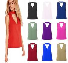 Womens Ladies Choker V Neck Collar Cut Out Plunge Sleeveless Blouse Vest Top Uk