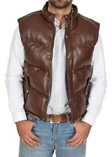 Mens Quilted Leather Waistcoat BROWN Puffer Body Warmer Vest Sleeveless Gilet