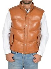 Mens Quilted Leather Waistcoat TAN Puffer Body Warmer Vest Sleeveless Gilet