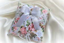 Wedding ring cushion /pillow / printed flowers cotton / lace/ crystal - NEW