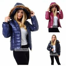 WOMENS PUFFER JACKET FUR HOODED WET LOOK WARM WINTER LADIES PUFFA PADDED COAT